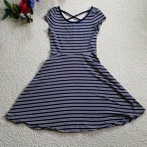 SO Strappy Back Dress Blue Stripe Junior's Small